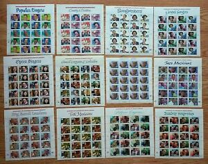 New 12 Sheets LEGENDS OF AMERICAN MUSIC SERIES 29¢ 32¢ 33¢ US USA Postage Stamps