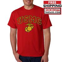 USMC MARINES T-SHIRT RED Marine Corps Semper FI US Military Corp Gear PT OD A