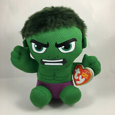 """TY Beanie Baby Avengers 6"""" HULK Marvel Plush Licensed Toy w/ MWMTs Ty Heart Tags"""