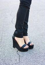 NIB ELIZABETH & JAMES SIBIL Wedge Platform Sandal Shoes Leather Python 9.5 $295