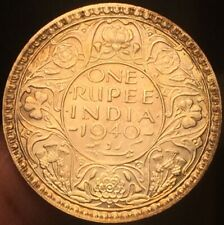 British INDIA 1940 One Rupee Silver Coin-High Grade - Toned - Please See Pics