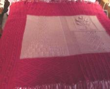 Handcrafted Handmade Red Knitted Crochet Acrylic Throw Blanket Afghan ~ nice