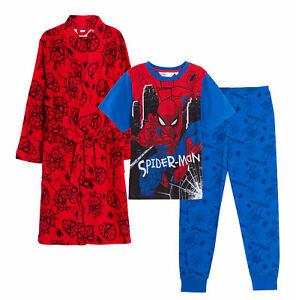 Boys Spiderman Pyjamas + Dressing Gown Matching 3pc Set Nightwear Pjs Bathrobe
