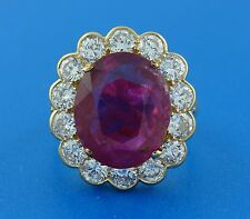 Elegant 6.32-ct RUBY 2.10 cts DIAMOND 18k YELLOW GOLD RING COCKTAIL ENGAGEMENT