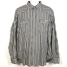 Lucky Brand Distinctive Western Pearl Snap Shirt Men's XL Gray Striped Cotton