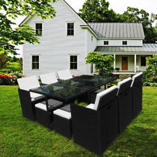 11PCS RATTAN GARDEN FURNITURE CUBE SET CHAIRS SOFA TABLE OUTDOOR PATIO
