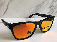 Nuevo Oakley Frogskins Gafas de Sol Negro Pulido / Prizm Rubí Lentes 9013-0955