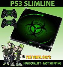 PLAYSTATION PS3 SLIM ADESIVO VERDE PERICOLO DI BIO stile aderente & 2 Pelli Pad