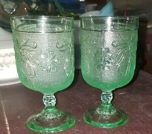 💚 VTG Tiara Sandwich Glass Chantilly Green Wine Goblets / Indiana - Set of 2 💚