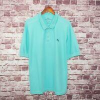 Tommy Bahama The Emfielder Polo Shirt Aqua Blue Supima Cotton Size XL