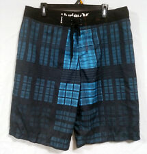 Hurley Board Shorts Men's Size 36 Blue Black Plaid Front Tie Swim Trunks