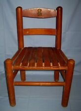 Vintage Wood Slatted Seat Toddler Child Size Chair W/Teddy Bear Decal!
