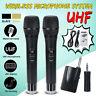 UHF Wireless Microphone System Handheld Dual Headset Mic Receiver Transmitter