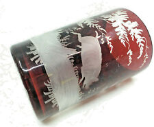 Etched Ruby Red Flash Glass Souvenir Cup Wiesbaden Germany Pig Boar Forest NICE