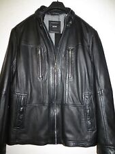 NEW $ 795 HUGO BOSS Black  Men's Neldo Leather Black Label Jacket Size 42R