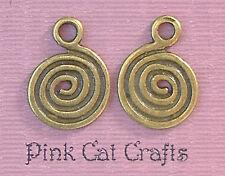 10 x spirale tourbillon cercle disque tibétain bronze charms pendentifs perles