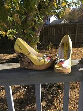 Ed Hardy Shoes Size 37 Or 6 Wedges Platform Yellow Color Printed.