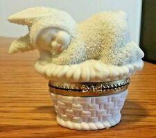"Snowbunnies Box ""Sweet Dreams"" Rabbit Naps Pink Weave Texture Base 2"" Dept 56"