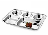 4 x Compartment Food Serving Tray Stainless Steel Lunch Dinner Mess Thaal Plates