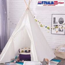 120X120X150cm White Canvas Kids Teepee Children Home Game Toy Play Tents Cubby