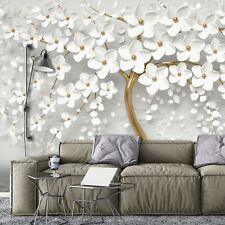 Vlies Fototapete Baum 3D WEIßE BLUMEN Abstrakt Gold Kunst Optik Wohnzimmer XXL