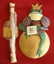 New 7 matching Frog prince garden stakes, in original boxes, metal