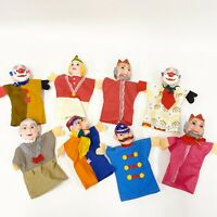 Lot 8 Vintage Rubber Vinyl Hand Puppets With Cloth Bodies King Queen Clown B5