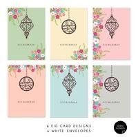 Multipack Eid Mubarak Cards - 6 Designs - Happy Eid Greeting Cards Pastel