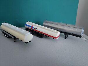 3 HO Scale 1:87 Transport Tanker Truck Trailers, Plastic