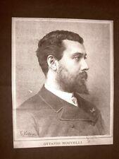 Raro ritratto di Ottavio Nouvelli nel 1886 Soprano Torino 1853 - Varsavia 1901