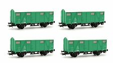 JOUEF HO GAUGE SET OF 4 HJ6107 SNCF GREEN COVERED WAGONS *NEW*
