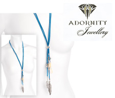 Two row blue cord shiny rhodium colour shell effect necklace 13686 UK SELLER