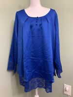 Isaac Mizrahi Live! Satin Blouse with Lace Hem & Cuffs - Royal Navy - Plus 20