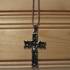 Cross stainless steel biker pendant & necklace
