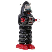 Retro Wind Up Clockwork Mechanical Walking Tin Mask Robot Toy Black
