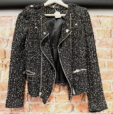 Ladies ZARA WOMAN Black Multi Knit Blend Cropped Zip Jacket Size UK S - Y99