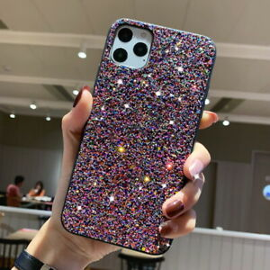 For iPhone 11 Pro Max XS XR X 8 7 6S Plus Bling Sparkle Hard Sequin Case Cover