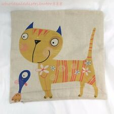 US SELLER cute yellow cat square cushion cover replacement outdoor cushion cover