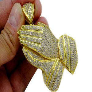 MENS WOMENS 14K YELLOW GOLD FINISH LAB DIAMOND HOLY PRAYING HANDS CHARM PENDANT