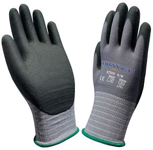 High Flex Safety Gloves Nitrile Foam Dipped Work Gloves  4 Pairs