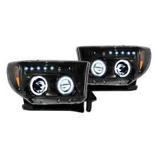 Recon Black/Smoke Halo Projector Headlights w/LED DRL for 07-13 Tundra & Sequoia