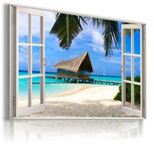 3D EFFECT WINDOW BEACH OCEAN SEA PALMS CANVAS WALL ART W2 MATAGA NO FRAME-ROLLED