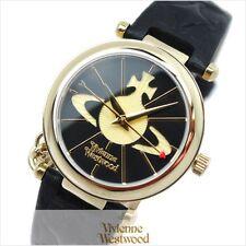 Vivienne Westwood OrbII VV006BKGD Black Dial Leather Strap Ladies Watch JapanF/S