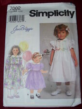 SIMPLICITY #7002-GIRLS PUFFY SHORT or LONG SLEEVE SUNDAY DRESS PATTERN  6M-2  FF
