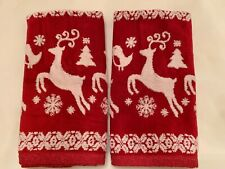 Caro Christmas Towel Set Of 2 Hand Towels Red & White Reindeer Snowflakes
