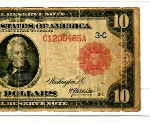 """$10 """"RED SEAL"""" (FEDERAL RESERVE) 1914 $10 """"RED SEAL"""" (PHILLADELPHIA) $10 NICE!!!"""