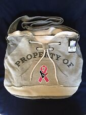 NFL Houston Texans Property Of Hoodie Duffel Tote Bag Purse Grey Pink