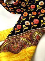 GIANNI VERSACE VINTAGE '90s ICONIC BAROQUE POP ART TIE FLOWERS PAISLEY GOLD