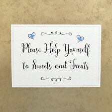 Please Help Yourself to Sweets & Treats - 260gsm Hammer Card Sign - Blue Hearts