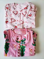 Lot 2 Baby Girl The Children's Place TCP 9 12 Mo Zip Up Pajamas Pjs Jammies